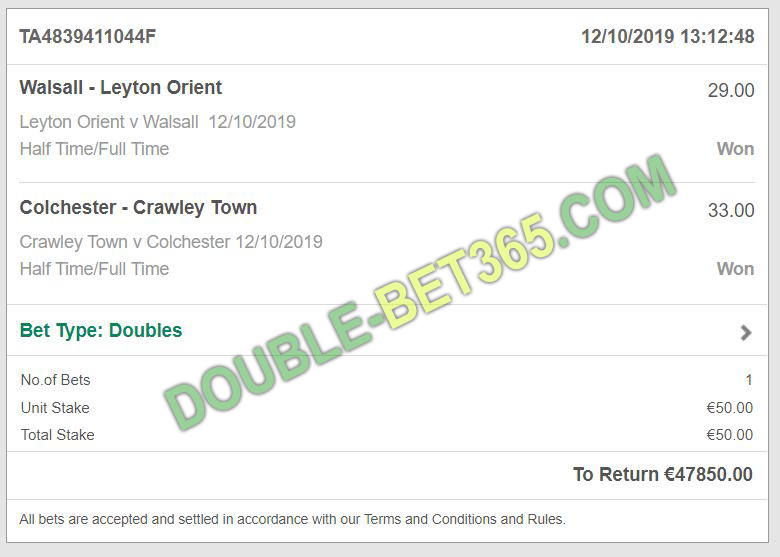 Double fixed matches proof bet 365
